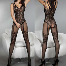 Ladies Sexy Open Crotch Stockings Crotchless Fishnet Sheer Body Dress Lingerie