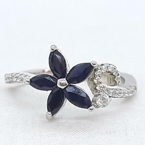 World Class 1.00ctw Kanchanaburi Sapphire & Diamond Cut White Sapphire 925 Ring