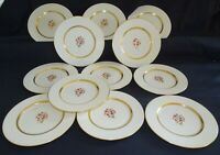 "Lenox USA Nydia Set of 12 Salad Plates 8 1/4"" -Red Flower, Gold Trim"