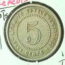 Straits Settlements 5 Cents KM 34 XF 1920