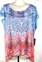 Style & Co Red Blue Short Sleeve Paisley Knit Top Womens Sz Small 4 6 Petite PS