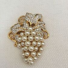Signed Swan Swarovski Gold Plated Faux Cream Pearl Grape Brunch Brooch Pin
