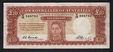 Australia R-60F. (1949) 10 Pounds - Coombs/Watt..  1st Prefix V/15..   VF