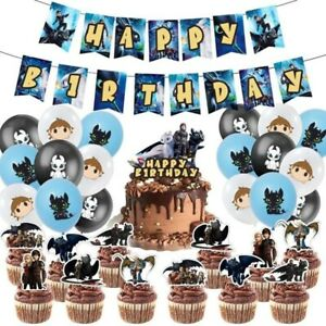 How To Train Your Dragon Toothless Birthday Party Supplies Balloons Cake Banner