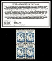 1933 - ADMIRAL BYRD ANTARCTIC EXPEDITION - Block of Four Vintage Postage Stamps
