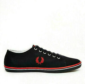 Mens Fred Perry Kingston Shoes Navy Blue Red Casual Sneaker Plimsols NEW