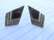 "Vintage .925 Sterling 1"" Onyx & Marcasite Triangle Stud Earrings - Black & White"