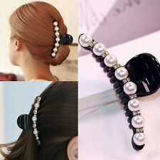 Lady White Pearl Crystal Rhinestone Hair Clip Grips Women Hair Claw Clamp Gift