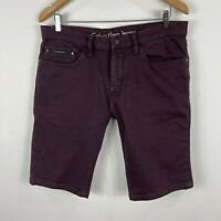 Calvin Klein Mens Shorts 34 Maroon Slim Chino Denim