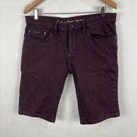 Calvin Klein Mens Shorts 34 Maroon Slim Chino Denim