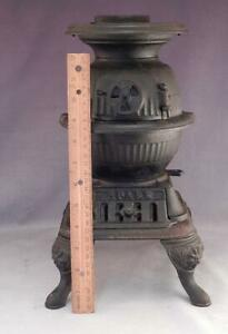"""Antique 14"""" SPARKS Cast Iron Pot Belly Stove~Salesman Sample~Store Display~VGC"""