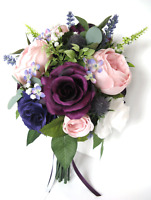 17 piece Wedding bouquet set Bridal Silk Flowers Vintage PINK BLUSH PLUM PURPLE