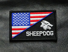 SHEEPDOG BLUE LINE US FLAG  TACTICAL MORALE ACU HOOK PATCH  RED/WHITE