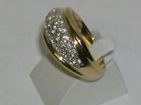 """Magnifique bague """"GOLD"""" en  or jaune 18 carats pavée de 23 zircons ronds"""