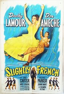Slightly French 1948  Dorothy Lamour & Don Ameche falling! Original US Poster