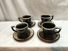 Set Of 4 Vintage Pfaltzgraff Brown Drip Stoneware Mug Cups and Saucers