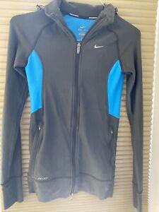 Nike Drifit Women Hooded Long Sleeve Running Jersey Size XS Grey/Blu
