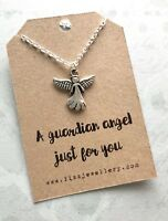 A Guardian Angel Just For You Silver Message Card Necklace New Christmas Gift