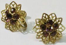 boucles d'oreilles à vis bijou vintage fleur cristaux améthiste couleur or* 5325