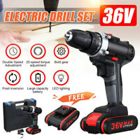36 V 2 Speed Electric Cordless Drill Driver LED Light W/ Battery & Case Set US