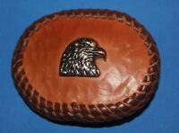 Hand Crafted Eagle Head Bust Leather Covered Belt Buckle
