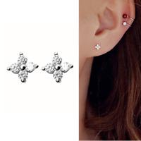 Solid 925 Sterling Silver Mini CZ Flower Motif Shiny Piercing Stud Earrings