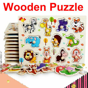 Wooden Jigsaw Puzzle Toy Children Kids Baby Learning Educational Animals Numbers