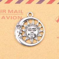 10x Moon and Sun Fashion Pendant Antique Silver Tone Jewelry Making Accessories