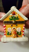 Christmas Porcelain Gingerbread House Used, Excellent Condition Height 3 Inches