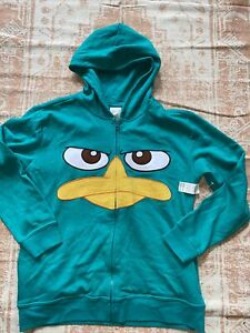 NWT UNISEX DISNEY PHINEAS and FERB PERRY THE PLATYPUS COAT HOODIE SIZE XL 14