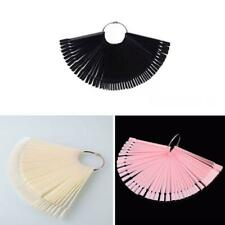 Fan-shape Nail Art Tips, Nail Swatches Sticks,  White, Pink, Black
