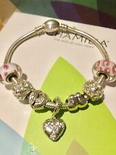 Chamilia Charm Bracelet with 7 Chamilia Charms with Box 19 cm