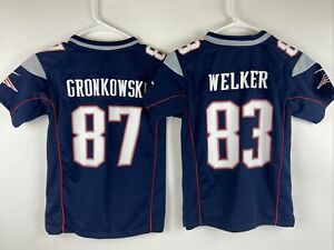 2 New England Patriots NFL WES WELKER &  GRONKOWSKI Jerseys YOUTH Size S Small