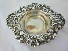 Reed Barton Sterling Silver Nut Dish Fancy Repousse Leaves Nuts Vintage Vintage