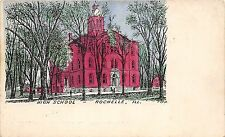 C16/ Rochelle Illinois Il Postcard c1910 High School Building Sketch