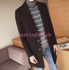 british Men Wool Jacket Lapel collar Coat Outwear Winter Warm Mild-long trench