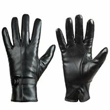 Womens Winter Leather Touch Screen Texting Phone Soft Warm Driving Gloves Black
