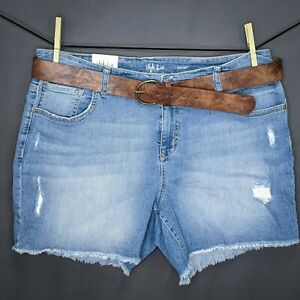 Style & Co Womens Jean Shorts Plus 22W Blue Denim Belted Light Wash Frayed NEW