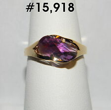 #15918 Amethyst Twist Gemstone 18k Yellow GP Adorable Ladies Ring Sz-7½