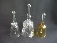 COLLECTION OF 3 DECORATIVE GLASS BELLS ~1 AMBER & 2 CLEAR GLASS