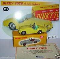 DINKY TOYS ATLAS TRIUMPH TR2 SPORTS JAUNE 1/43 REF 105 IN BOX