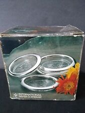 VINTAGE 1989 INTERNATIONAL SILVER CO. COASTERS SET OF 4 SILVERPLATED/GLASS
