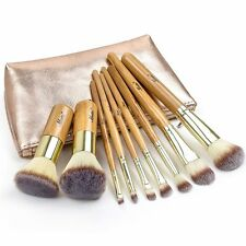 Matto 9-Piece Bamboo Makeup Brush Set with Travel Bag