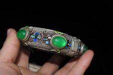 Chinese Old Tibet Silver & Green Jadeite Jade Beads Collectible Vintage Bracelet