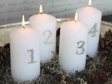 Chic Antique Kerzen Deko Pin Adventzahlen 1-4 Simili Silber X Mas Shabby H.3,5cm