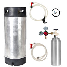 Keg Kit: 5 Gal Pin Lock Used Keg, New 5 lb CO2 Tank, Regulator & Parts Free Ship