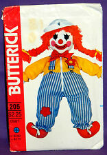 "Uncut VTG Butterick 24"" Clown Learning Doll w/Clothes & Transfers Pattern 205"