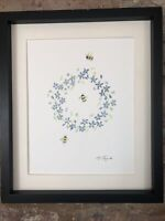 Bumble Bees, Forget Me Not Wreath, Original Watercolour Painting, Original Art