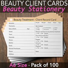 Beauty Client Record Card Treatment Consultation Salon Therapists A6 / 100 Pack