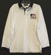 Polo Ralph Lauren Mens White P-15 Offshore Sailing Rugby Shirt NWT Size M